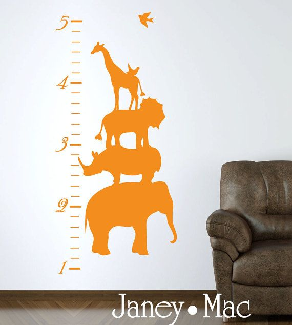 Safari Animal Stack Growth Chart Wall Decal by PoppetHollowShop