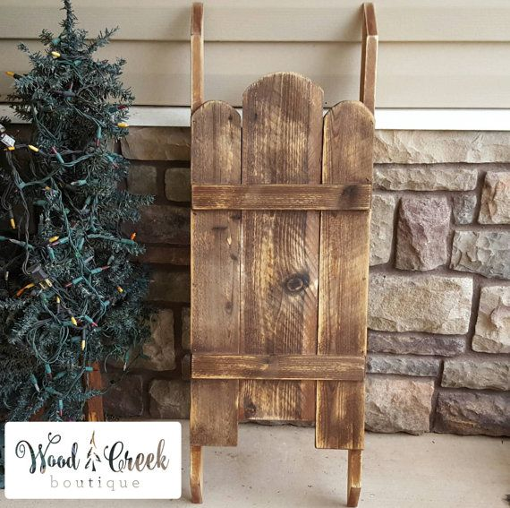 Wooden Sled Country Christmas Wooden Sled By WoodCreekBoutique. Outdoor  Wooden Christmas DecorationsSled ...