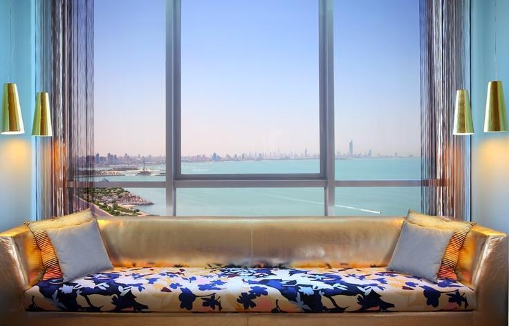 relax hereMissoni Kuwait, Windows Seats, Beautiful Places, Colors Design, Hotels Interiors, Hotels Kuwait, Missoni Hotels, Ocean View, Hotels Missoni