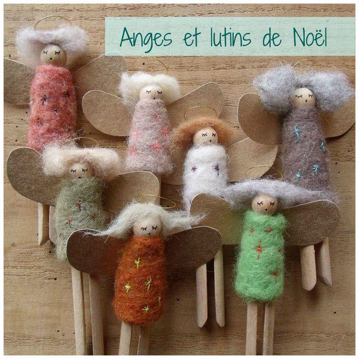 Anges et lutins de no l en laine card e et pinces linge anciennes sauterelle verte pinterest - Deco de noel en pince a linge ...