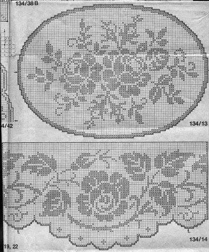 rose + balza filet   Hobby lavori femminili - ricamo - uncinetto - maglia