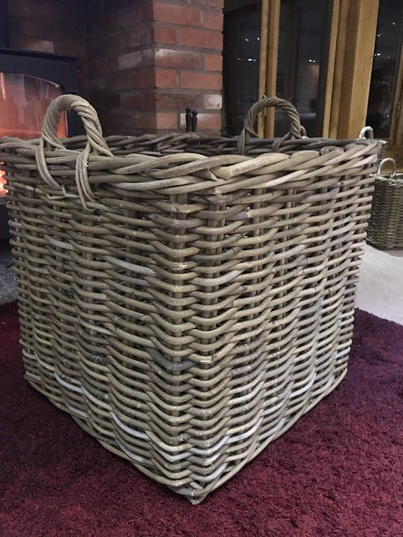 Extra Large Square Handmade Rattan Wicker Log Storage Basket 52cm Square Sturdy And Strong Wicker Basket Rattan