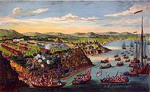 The Battle of the Plains of Abraham which began on 13 September 1759, was fought between the British Army and Navy, and the French Army, on a plateau just outside the walls of Quebec City, on land that was originally owned by a farmer named Abraham Martin.  The battle involved fewer than 10,000 troops between both sides, but proved to be a deciding moment in the conflict between France and Britain over the fate of New France, influencing the later creation of Canada.[2]
