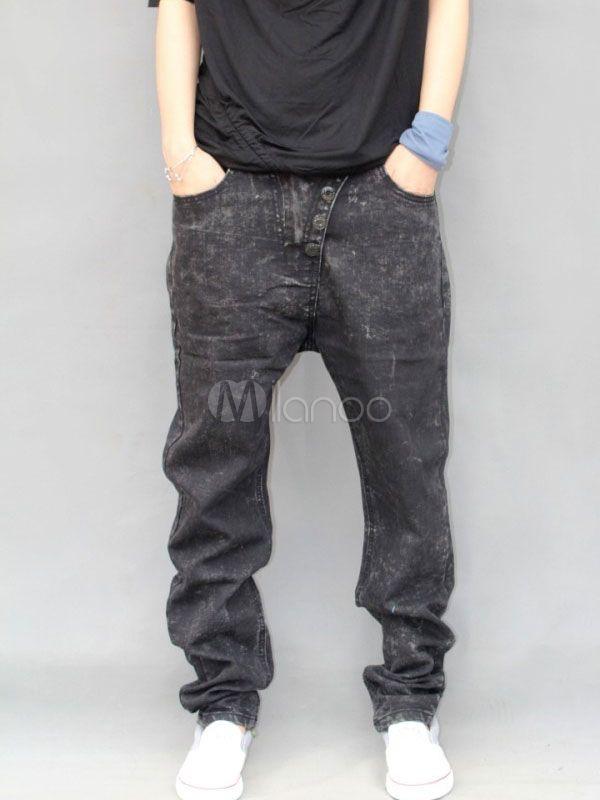 Smart Black Solid Color Buttons Denim Mens Harem Jeans - Milanoo.com