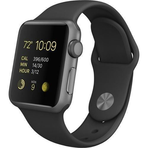 Apple Watch Sport 38mm Space Gray Aluminum Case Black Sport Band (MJ2X2LL/A) #Apple