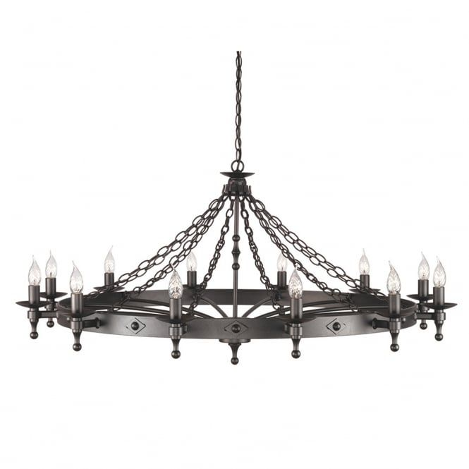 A Extra Large Wrought Iron Chandelier Measuring 1 2 Metres In Diameter With Graphite Black Finish Fe Lights For Impact