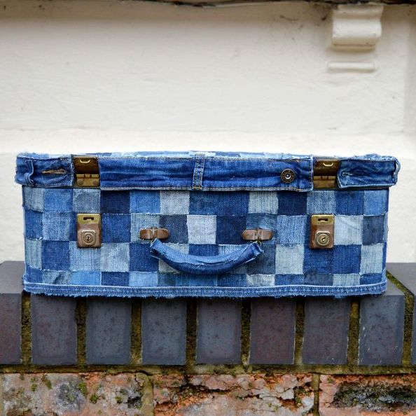 upcycle an old suitcase with jeans to create some fun storage no sew, crafts, decoupage, home decor, repurposing upcycling, storage ideas