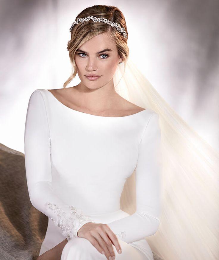 ALANA - Vestido de noiva em crepe, manga comprida e decote em barco   Pronovias