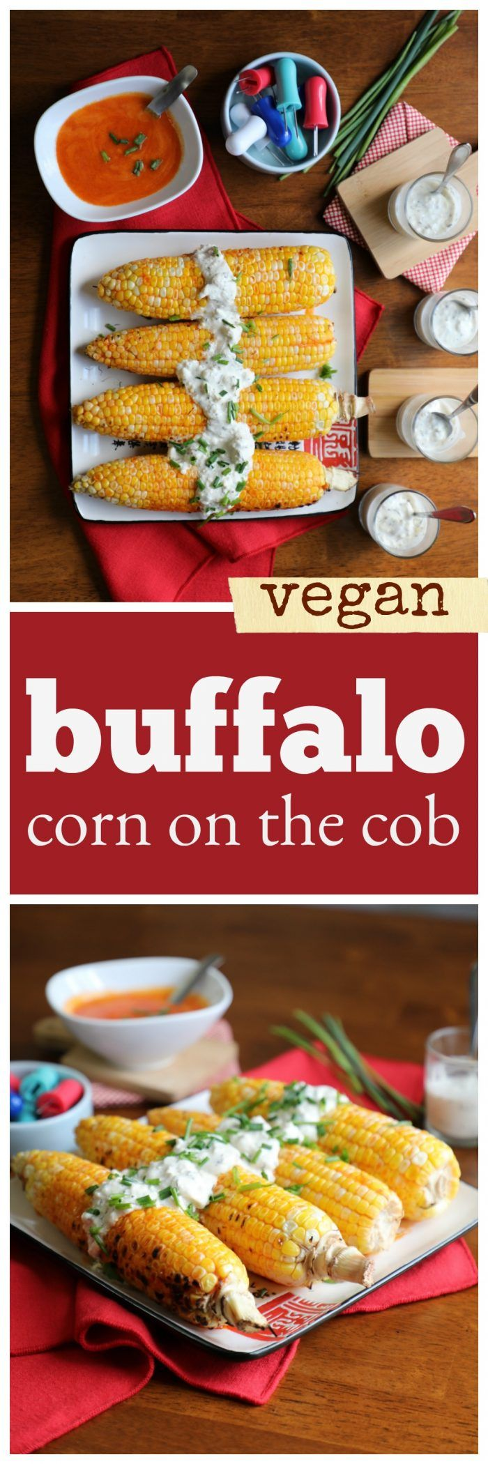 Buffalo-style grilled corn on the cob with vegan blue cheese dressing. This spicy side dish is perfect for your next cookout. Vegan, dairy-free, gluten-free.