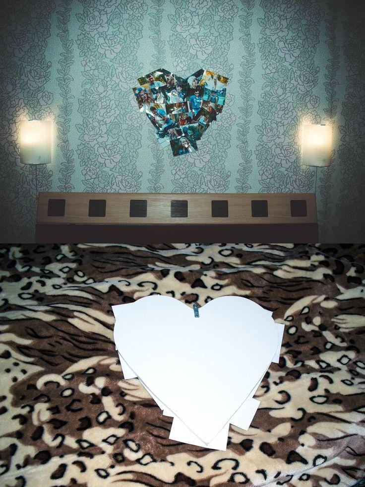 Фото коллаж. Основа в виде сердца выполнена из ДСП толщиной 16 мм (50 на 50 см), что позволяет наклеить подборку фотографий и прикрепить их на стену.