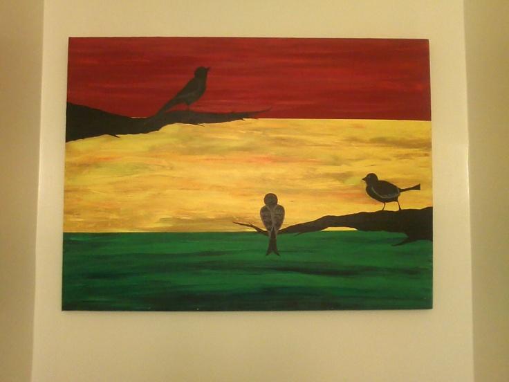 SALE Three Little Birds Rasta Reggae Sunset Tree  Original Acrylic Painting 18 x 24. $75.00, via Etsy.