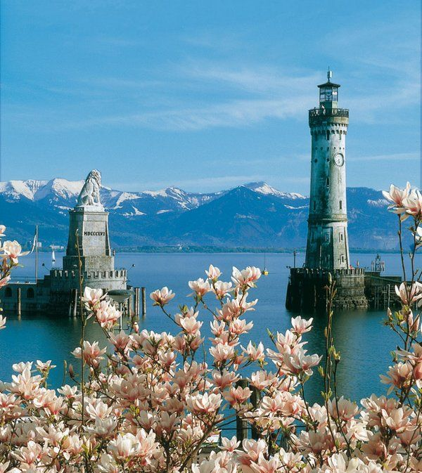 Lindau Lighthouse - Lake Constance, Germany. One of the most scenic and photographed of the country's lighthouses, it was first lit in 1856 and is the southernmost lighthouse in Germany.