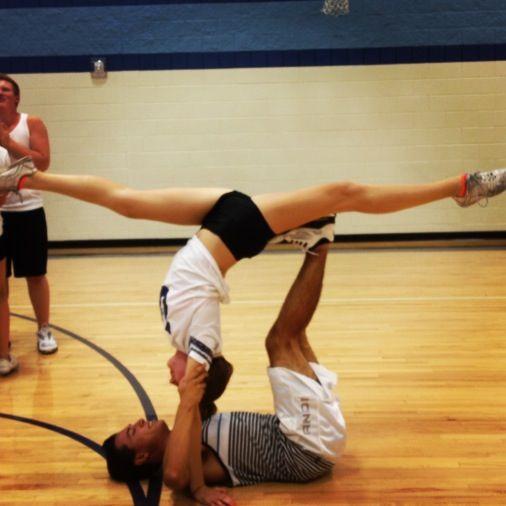 Cheerleader 2 person stunts. Love being flexible (:
