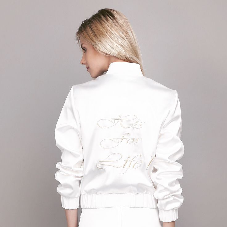 Oana Pop #silkbomberjacket!  #hisforlife embroidery! New project coming up! #excited #fashion #fashioncatalog #silkbomberjacket #embroidery #embroideredbomberjacket #bridesbomberjacket #whitebomberjacket Photo: @ancacheregi Model: @cristinaoltean Mua: @ioanamalai