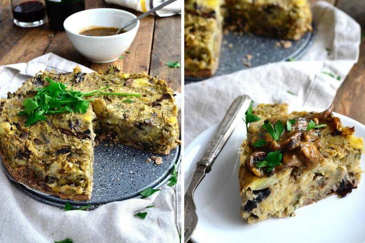 Взлет Shine Кук - Vegan праздничный ужин Рецепт. Herbed Картофель Капуста пирог с Savoury Гречневая корочкой (глютен & Oil Free)