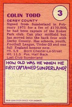 1974-75 A&BC Gum #3 Colin Todd Back