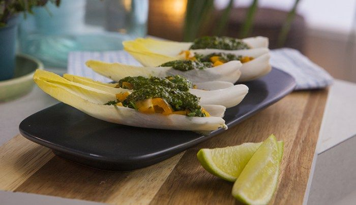 Dairy-Free Endive Boats with Pistachio Pesto - Good Chef Bad Chef