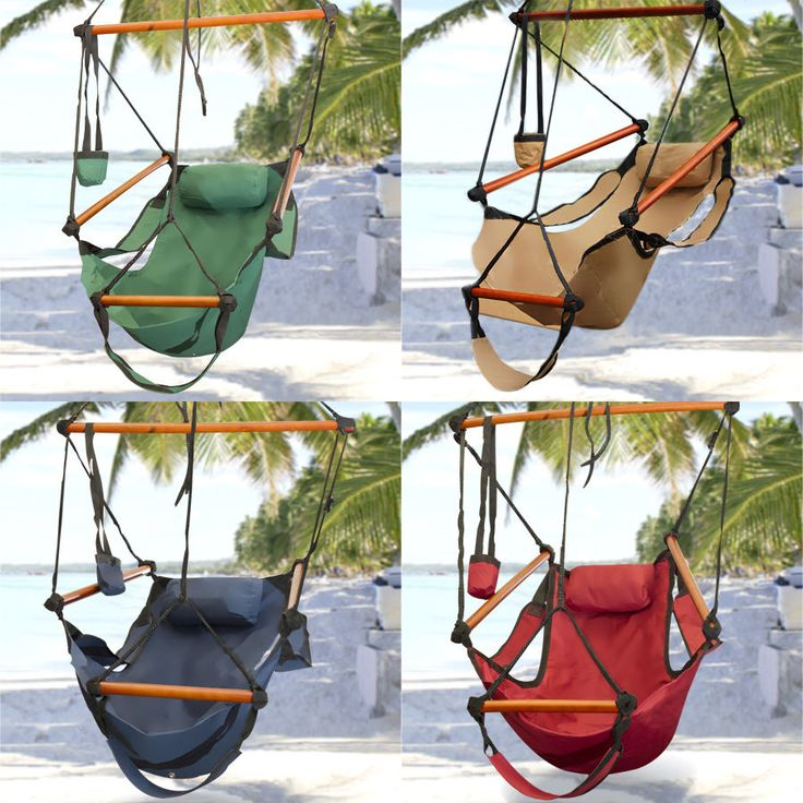Hammock Hanging Chair Air Deluxe Sky Swing Outdoor Chair Solid Wood 250lbFEATURESDurable long lasting weather resistant constructionDouble layer 600D nylon1