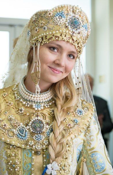 A bride in the old Russian style. #weddings