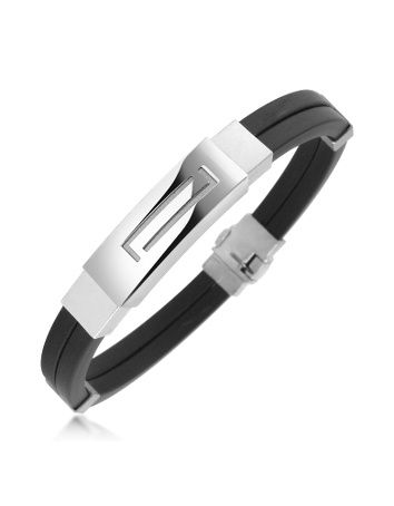 Men's Rubber and Sterling Silver Bracelet < A unique collection of Italian design and handcrafted sterling silver bracelets for men.