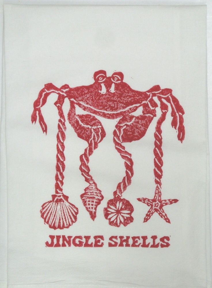 Whimsical red, jingle shells crab with sea shells decorate this holiday towel.