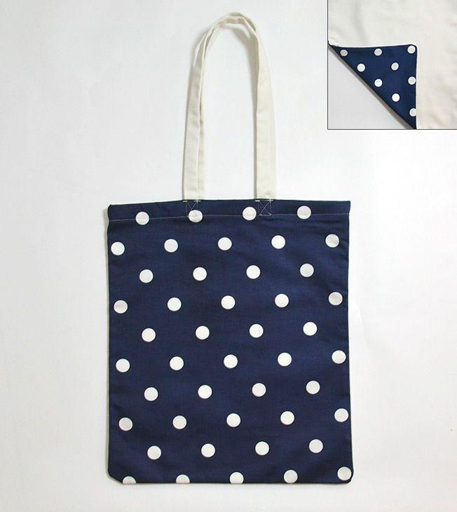 Polka Dots Tote Bag. Two-sided.   #totebags #screen #printed #handmade #serigrafia #diseño #polkadots #blue #shopping #shopper #goodie #bag