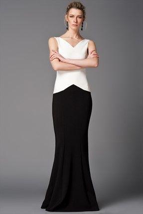 Milla by Trendyol x Çağla Şıkel · Gece Koleksiyonu · Yeni Sezon - Ekru Siyah Abiye Elbise MLWSS156720 sadece 169,99TL ile Trendyol da