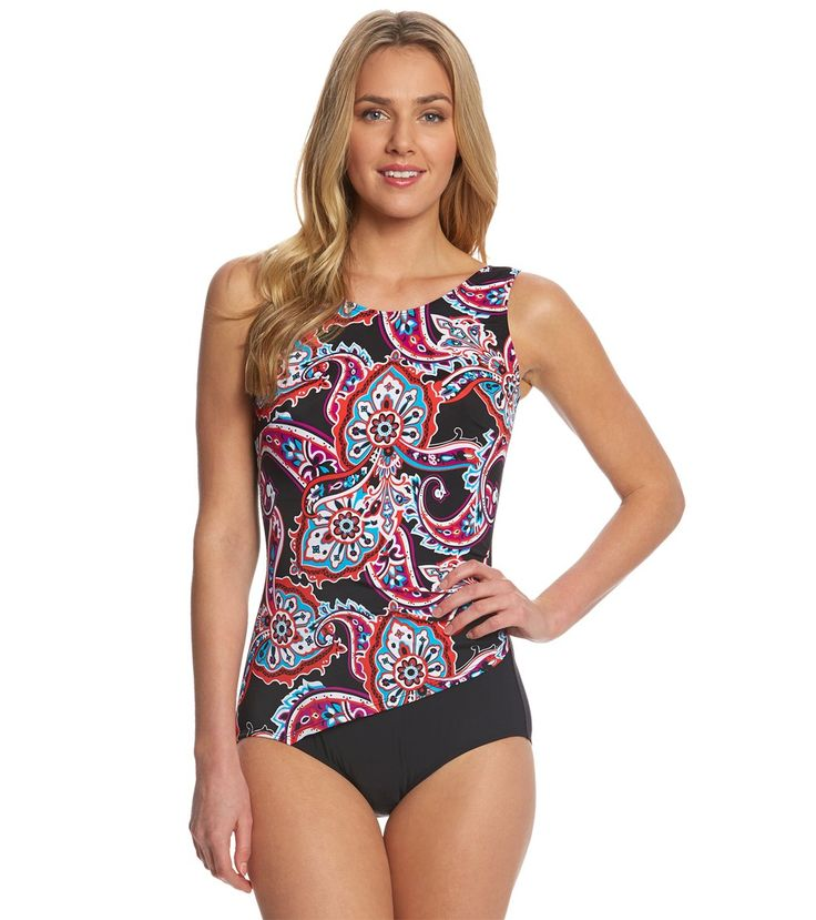 T.H.E Paisley Park Mastectomy Printed Drape One Piece Swimsuit at SwimOutlet.com – The Web's most popular swim shop
