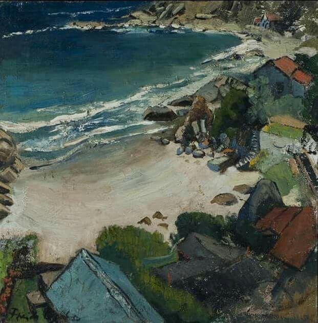 Freida Lock (South African painter) 1902 - 1962 Fourth Beach, Clifton, 1950 oil on canvas 53 x 53 cm. (20 7/8 x 20 7/8 in.)