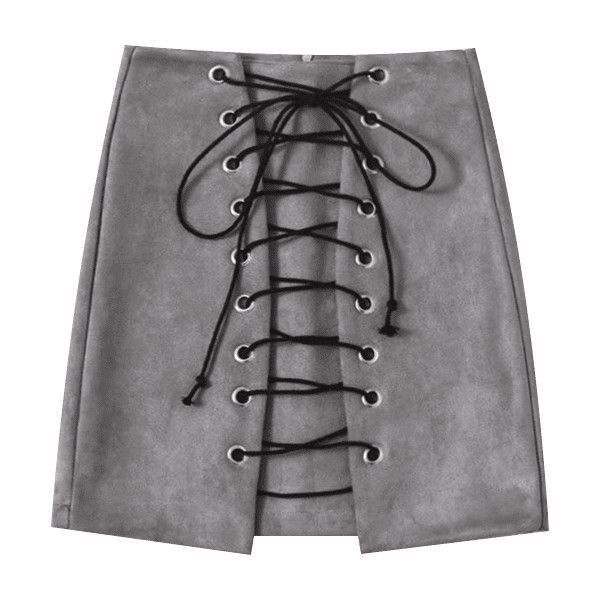 Faux Suede Mini Lace Up Skirt (€16) ❤ liked on Polyvore featuring skirts, mini skirts, gray skirt, grey mini skirt, grey skirt, lace up skirt and grey lace up skirt