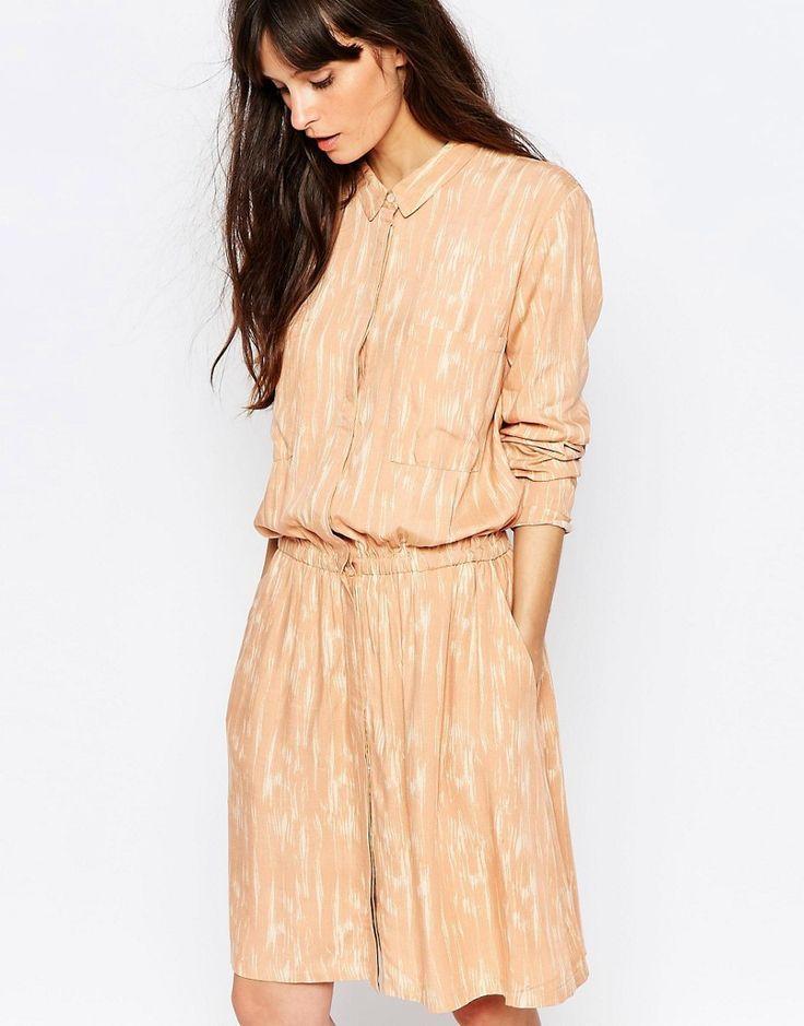 Just+Female+Lumina+Print+Shirt+Dress+in+Peach