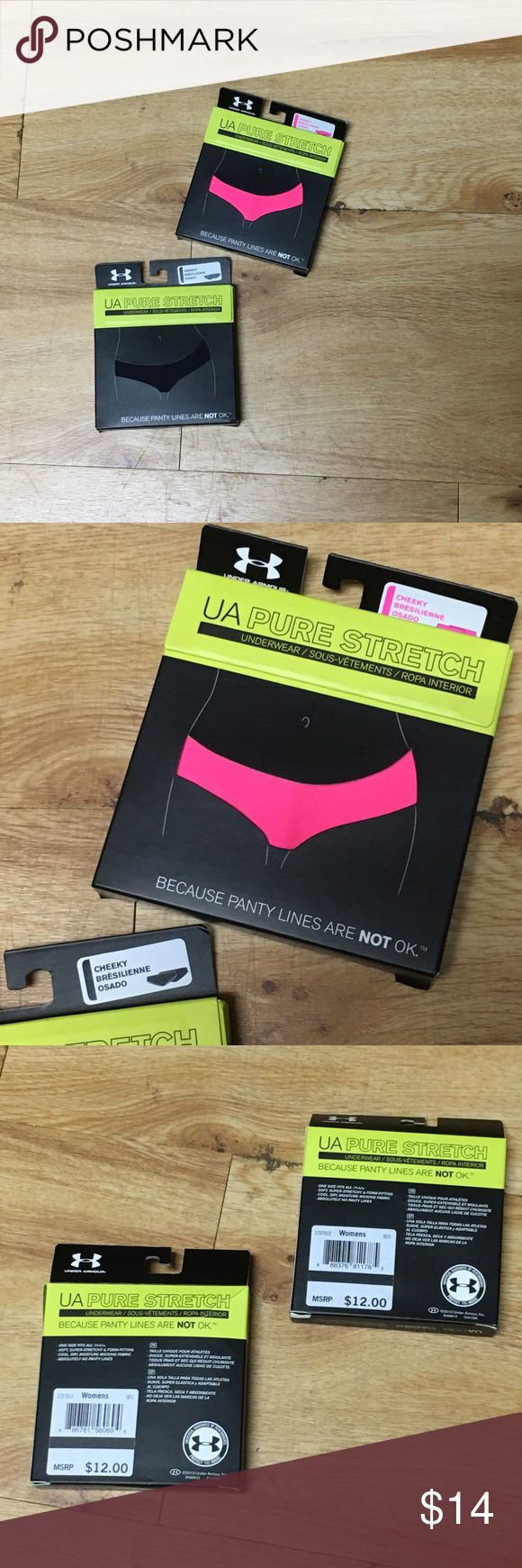 NIB under armour pure stretch seamless panties NIB under armour pure stretch panties. One size fits all. Super stretchy, form fitting, cool, dry, moisture-wicking fabric. No panty lines and are cheeky. Both pink and black are for sale. Black box has a tear on the back, but have never been worn. Price is negotiable and ships next day. Under Armour Intimates & Sleepwear Panties