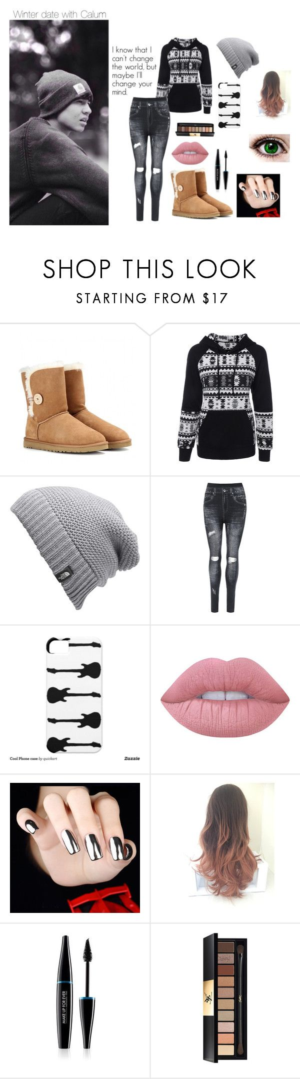 """""""Winter date with Calum"""" by ashtonxfletcher ❤ liked on Polyvore featuring beauty, UGG Australia, The North Face, WearAll, Lime Crime, MAKE UP FOR EVER, Yves Saint Laurent, Winter, calumhood and poop"""