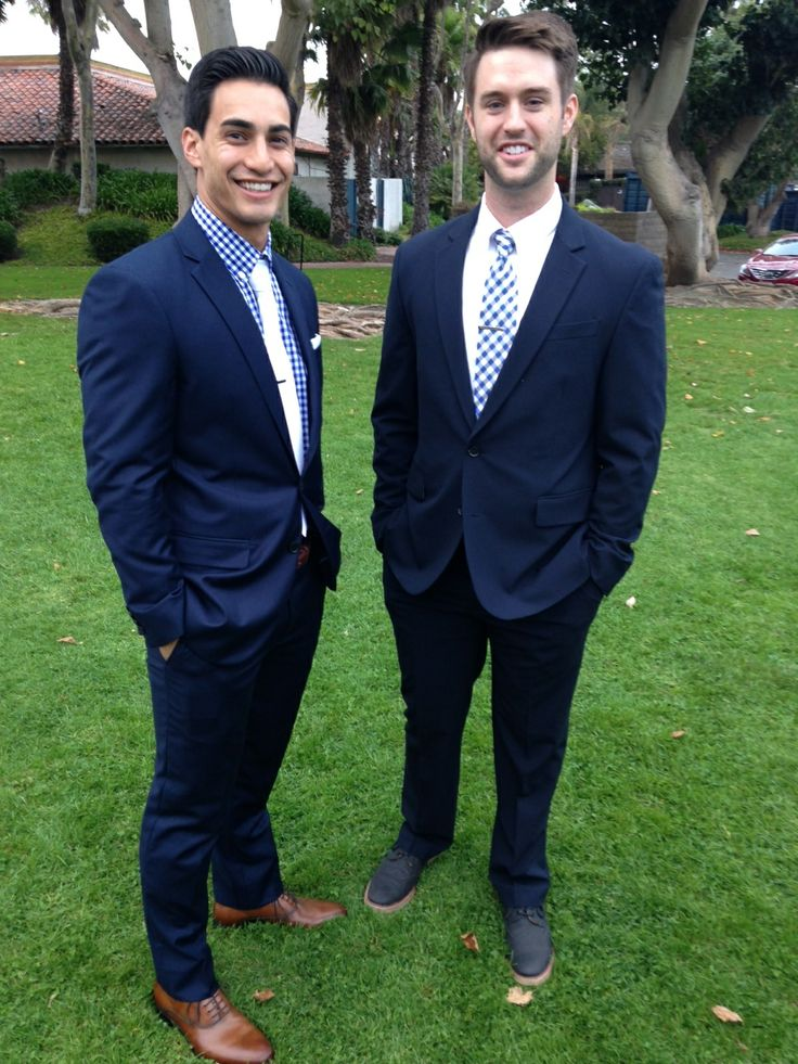 navy suit and gingham. sister's wedding :) | Mens fashion ...