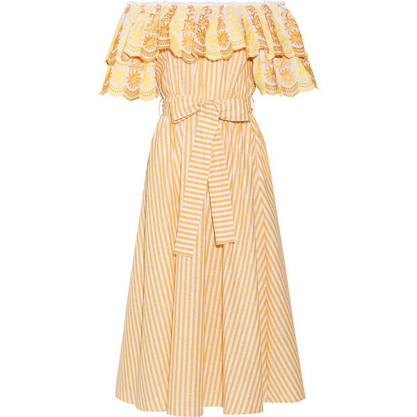Gül Hürgel Off-the-shoulder ruffled cotton and linen-blend dress featuring polyvore, women's fashion, clothing, dresses, gul hurgel, embroidery dresses, stripe dresses, floral stripe dress, striped dress and floral dresses