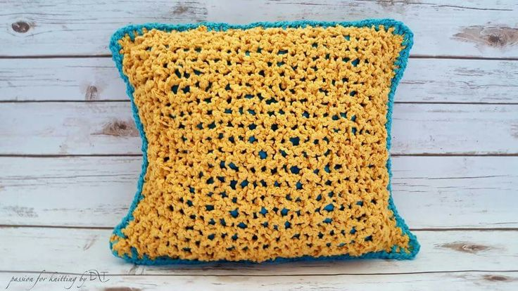 Yellow Knitted handmade pillow by DLThandmade  Size:40x40 cm.  https://www.facebook.com/DLThandmade/ #DLThandmade #passionforknitting #hoookedzpagetti