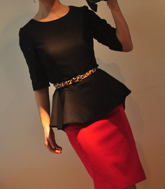 Black Virgin Wool 1/2 Sleeves Peplum Flared Hem Winter by yystudio, $199.80