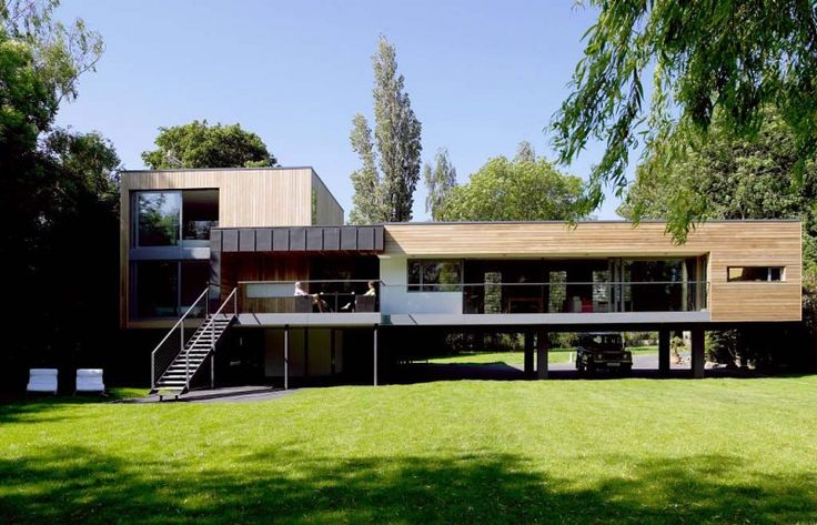 Hind House by John Pardey Architects; Completed in 2008, this contemporary home sits on the banks of river Loddon and was built on stilts to deal with seasonal flooding.