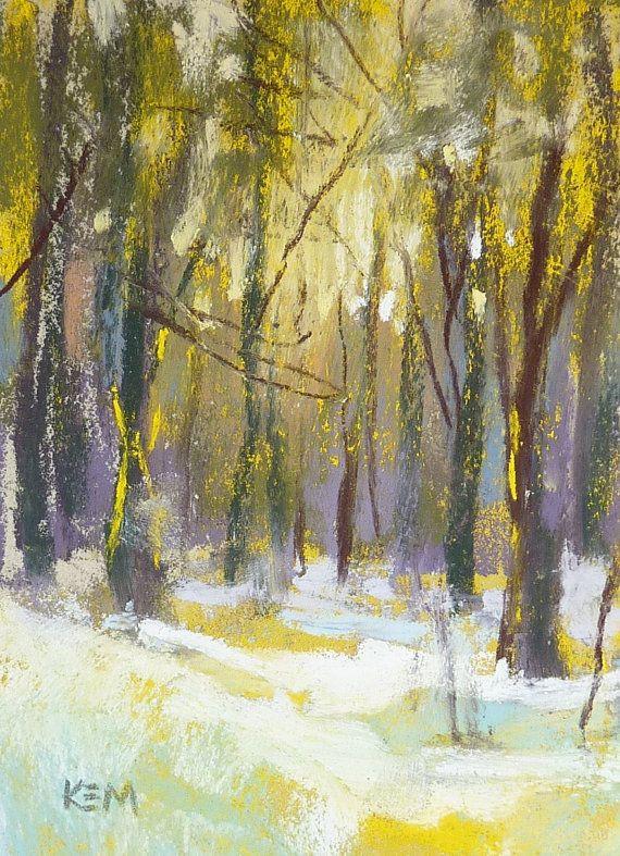 Winter Landscape Aceo Original Pastel Painting Pastel