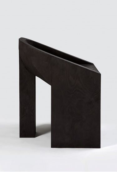 RICK OWENS, CHAIR: 2005 furniture collection made of plywood, antlers, alabaster and marble.