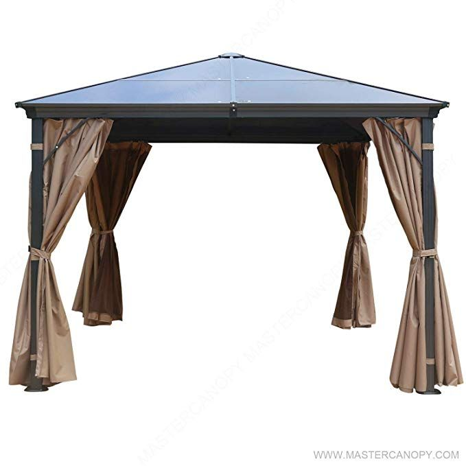 Mastercanopy 10x10 Hardtop Gazebo Rustproof Aluminum Permannet Gazebo With Mosquito Netting And Privacy Curtains Ghg 041 Hardtop Gazebo Gazebo Gazebo Canopy