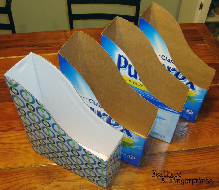 Store magazines w/ empty cereal or laundry detergent boxes.  I saw a pin where someone used the office organizers like this shape to stor their flip flops in the closet neatly...I'm going to try that with the cereal boxes!