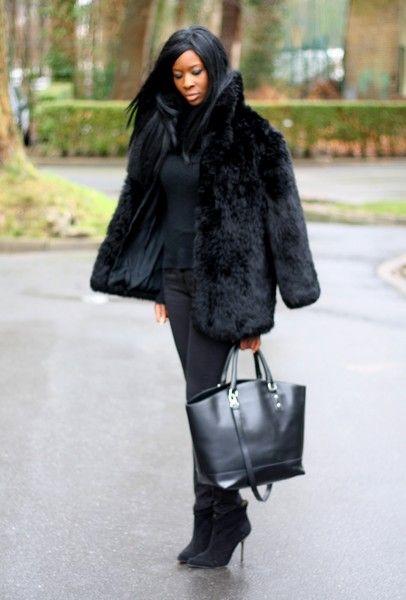 manteau fourrure noir femme