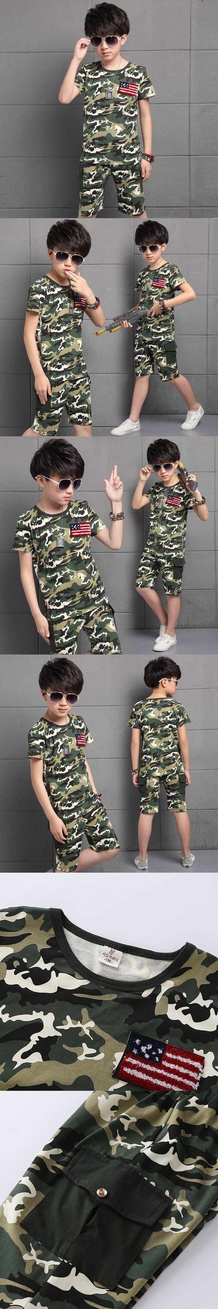 Children Camouflage Suit Summer 2016 New Fashion Boys Clothes Kids T-shirt Pants Boys Clothes Outfit Age 4-14T Minions Clothes