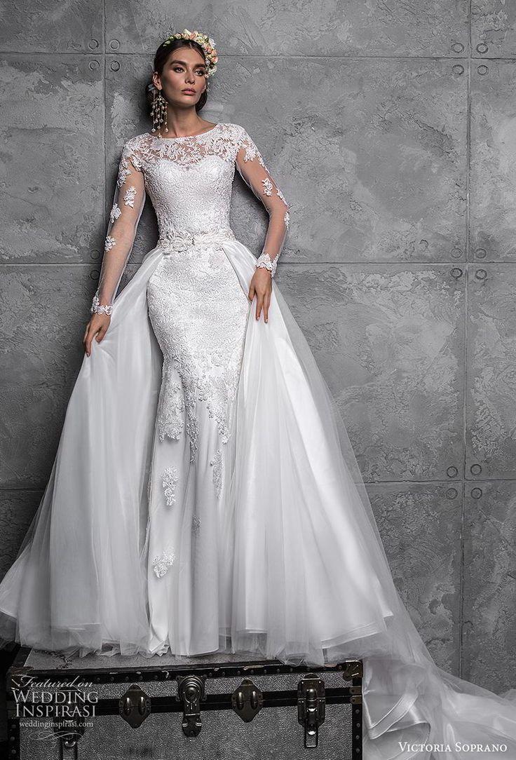 victoria soprano 2020 bridal long sleeves illusion bateau sweetheart neck full e…