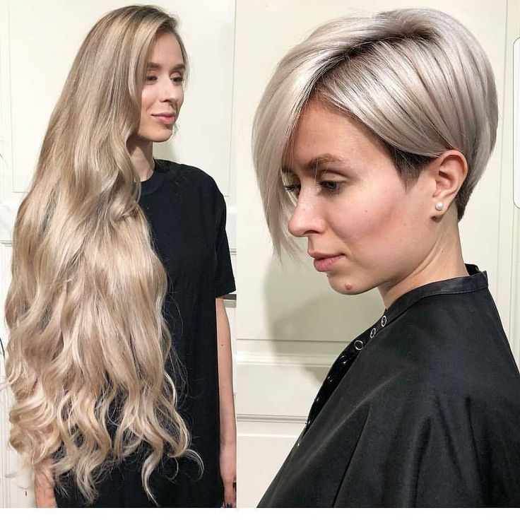 Can you say wow What a makeover????  Long to short.  Just beautiful @ellina.modenova by stylist @nataliakop.  To check out video of the cut head over to @imallaboutdahair just posted it!!;;;