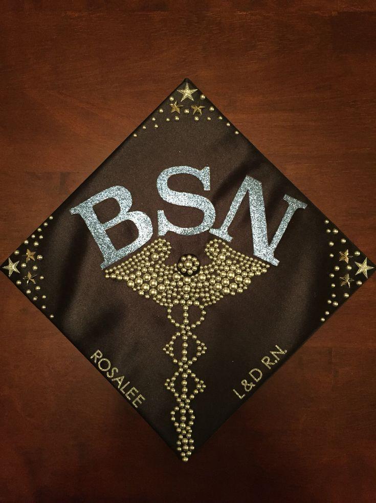 RN BSN graduation cap with caduceus