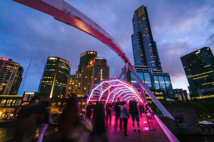 On the Southbank Pedestrian Bridge at White Night Melbourne. Photo by Roberto Seba.