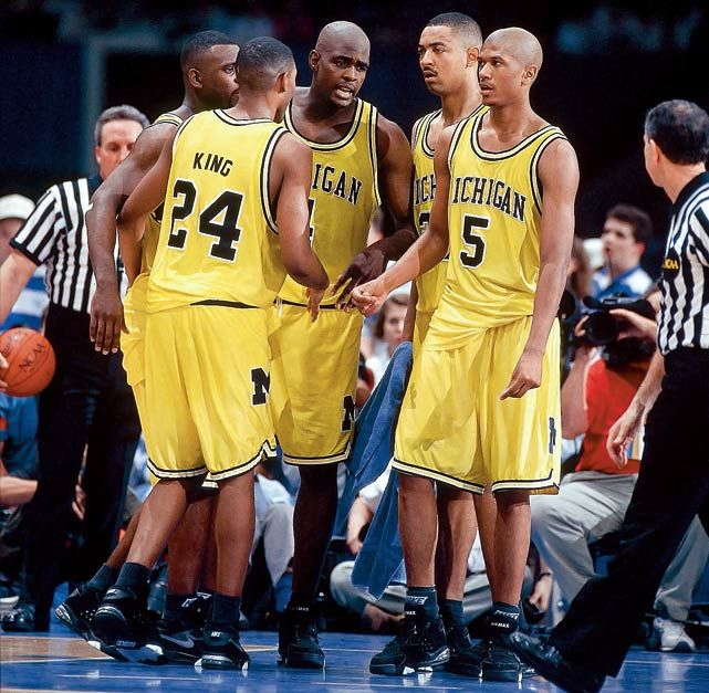 Michigans famous Fab Five, who despite back-to-back championship appearances as freshmen and sophomores, would be defined by one infamous error. Trailing North Carolina by two with 11 seconds left in the final, Chris Webber called for a timeout his team didnt have, bringing an ignominious end to one of the greatest recruiting classes in college basketball. (John W. McDonough/SI) GALLERY: Iconic NCAA Tournament Teams