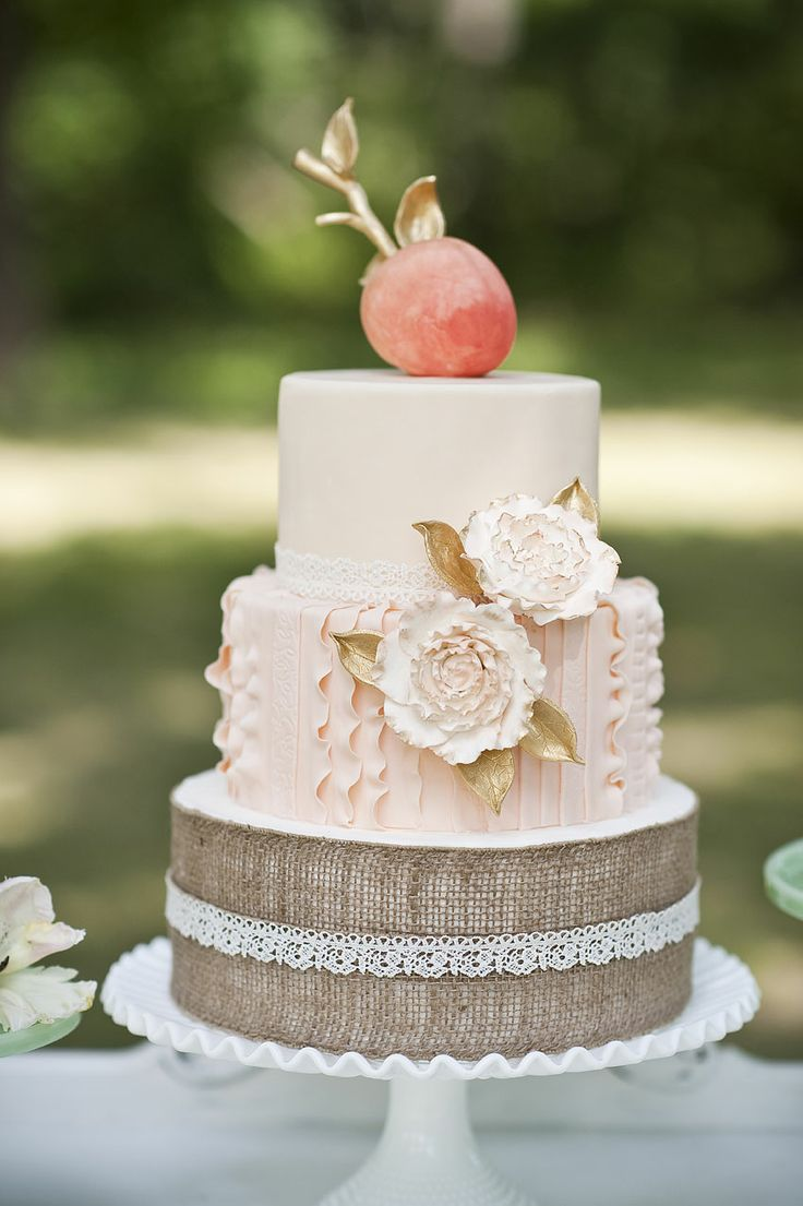 Chateau on the Grove [styled shoot] Wedding cake, peach, gold, burlap, lace, Creted by Amy Cakes of Norman, OK ©BRC Photography
